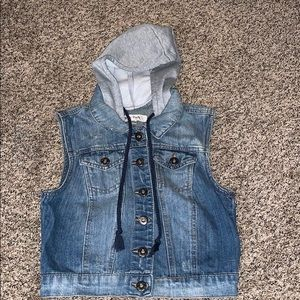 Jackets & Blazers - Jean vest with built in hood